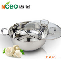 Non-stick 201 Stainless Steel Thermal Hot Pot with Glass Lid