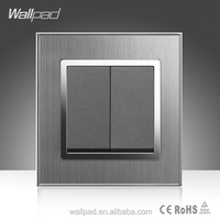Double Control Switch Wallpad High Quality Silver Satin Metal 16A 2 Gang 2 Way Wall Light Electric Switch
