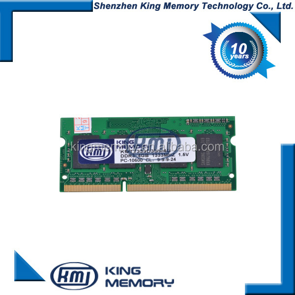 lowest RMA rate pc3-10600 sodimm 204 pin Free Shipping ddr3 1333MHz 4gb laptop ram