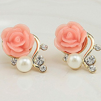 Korean Style OL Pink Rose Flower Shiny Crystal Rhinestone Pearl Stud Earrings