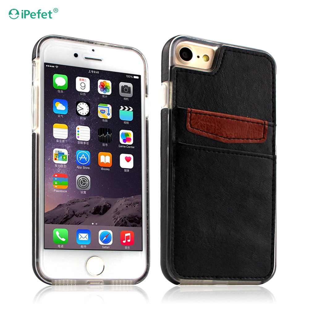 New Arrival Back Cover Wallet Leather Case For iPhone 7 With Two Card Slots