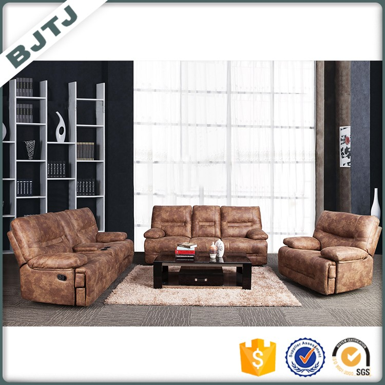 BJTJ luxury leather reclining function sectional sofa set 70600