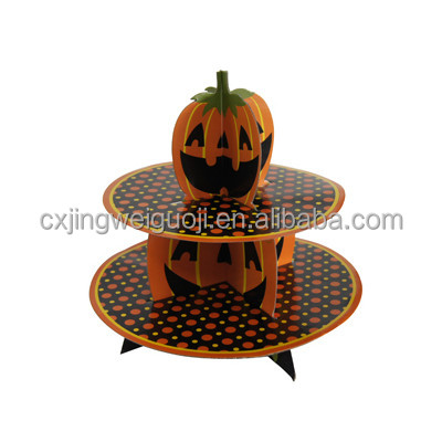 custom made disposable party decoration 2-tier floating cake stand for Halloween