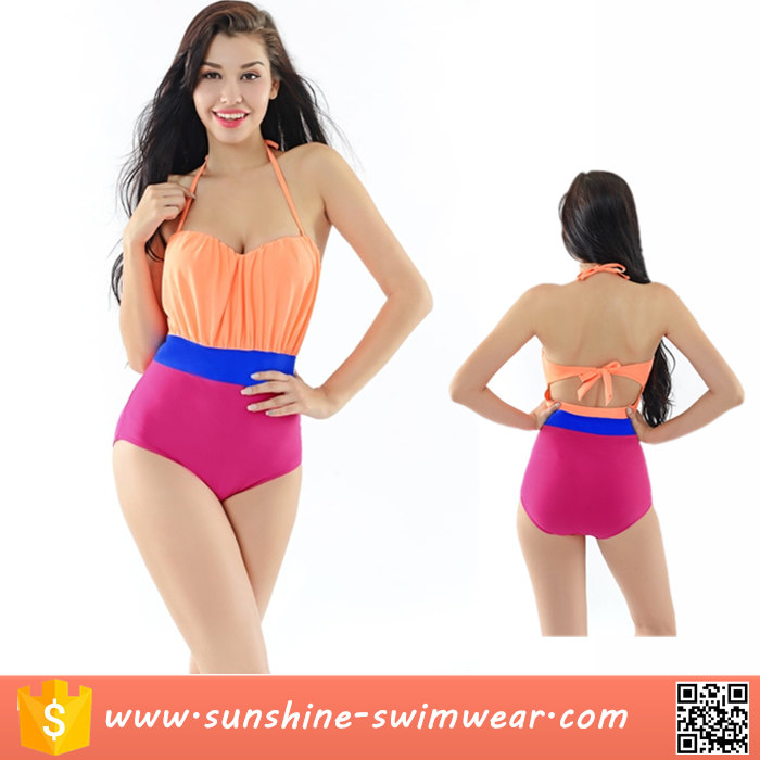 2016 High Quality Contrast Color Halter One Piece Swimsuit