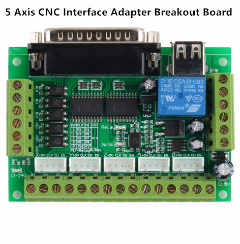 5 Axis CNC Interface Adapter Breakout Board For Stepper Motor Driver CNC Mill Mach3 with USB Cable
