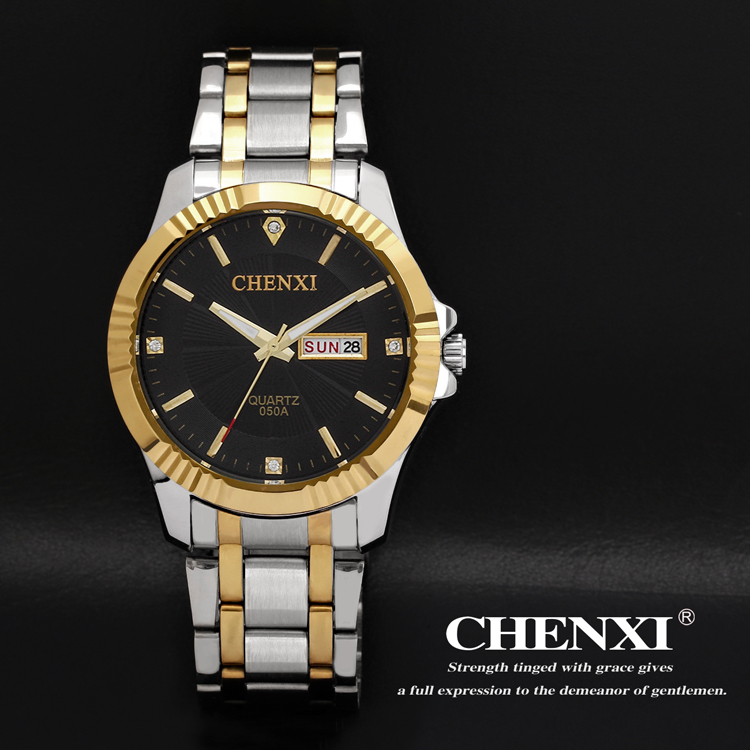 <strong>050</strong> <strong>A</strong> 3 CHENXI Clock Fashion Men insert gold Stainless Steel Quartz Double Day/date Watches Wholesale Watch Men
