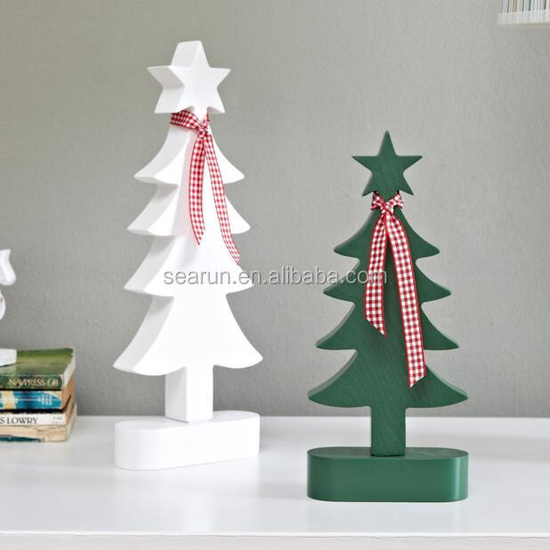 Wooden Christmas hanging ornament tree xmas small tree decoration on table