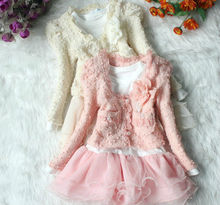 Autumn Winter New Long Sleeve Lace Baby Girl Coat Dress 2pcs Sets Pink Beige Children Clothing Suits