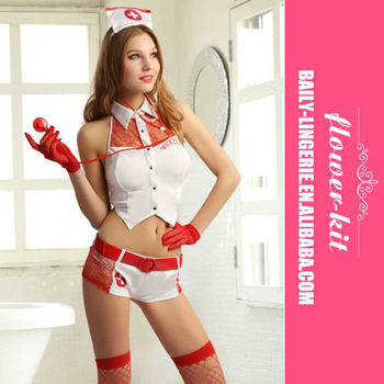 Europe America Hot Nurse Costume White Sexy Nightwear Lingerie