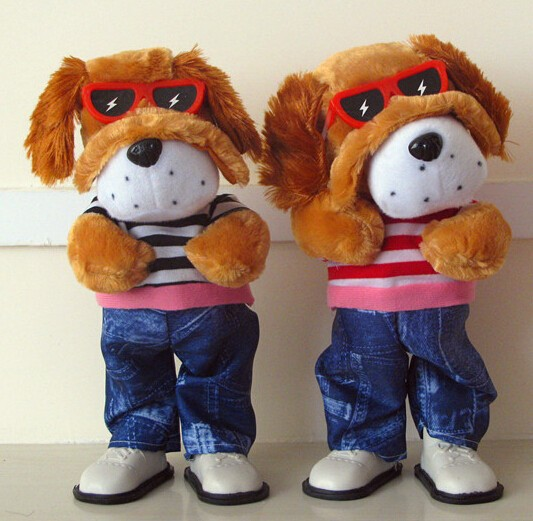 plush dog toys with a sound chip, singing and dancing dog toys