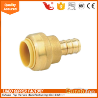 "Lead Free Brass Push Fit Hose Connector 1/2"" 3/4"""