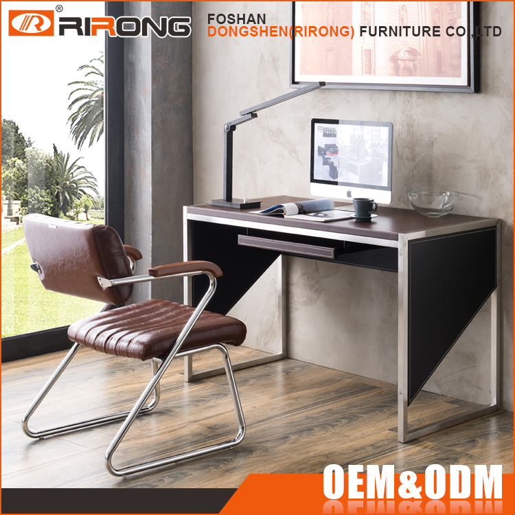 Cheap simple modern customized 1.2m panel board colorful brown wood office study cum computer table desk for 1 person