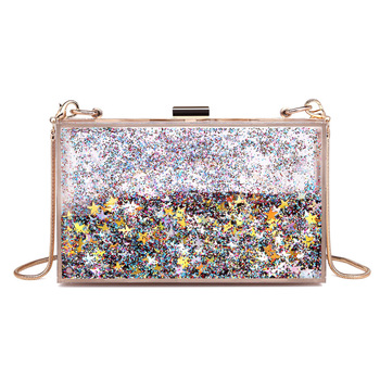 Fashion square acrylic clutch bag liquid glitter clear acrylic evening bag