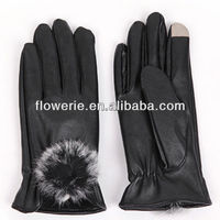 FL2586 2013 Guangzhou hot selling girl leather finger touch screen gloves