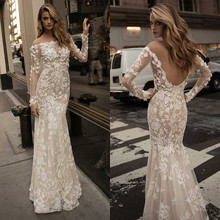 Sexy White Lace Appliqued Long Sleeve Mermaid Wedding Dress 2017