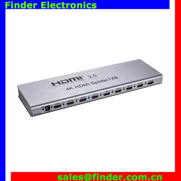 High speed hdmi splitter 1x8 3D, hdmi video splitter amplifier HDMI 2.0 amplifier