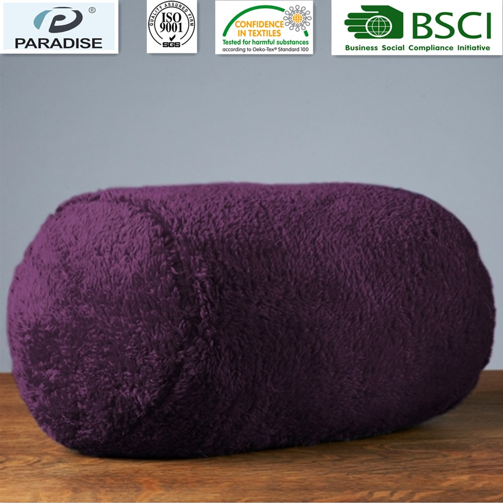 Decorative Extra-Fluffy Fabric In A Log Neckroll Pillow Foxglove Color