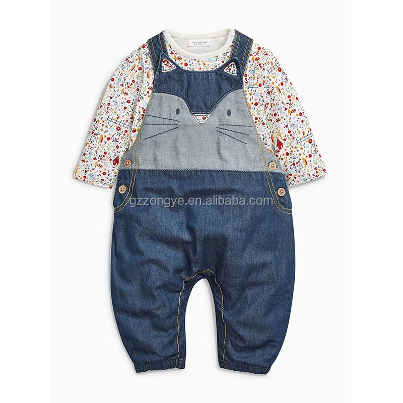 Denim Cat Dungarees And custom boy bodysuits