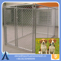 Galvanized chin link dog kennel gate panel / 6'*5' chain link dog cage