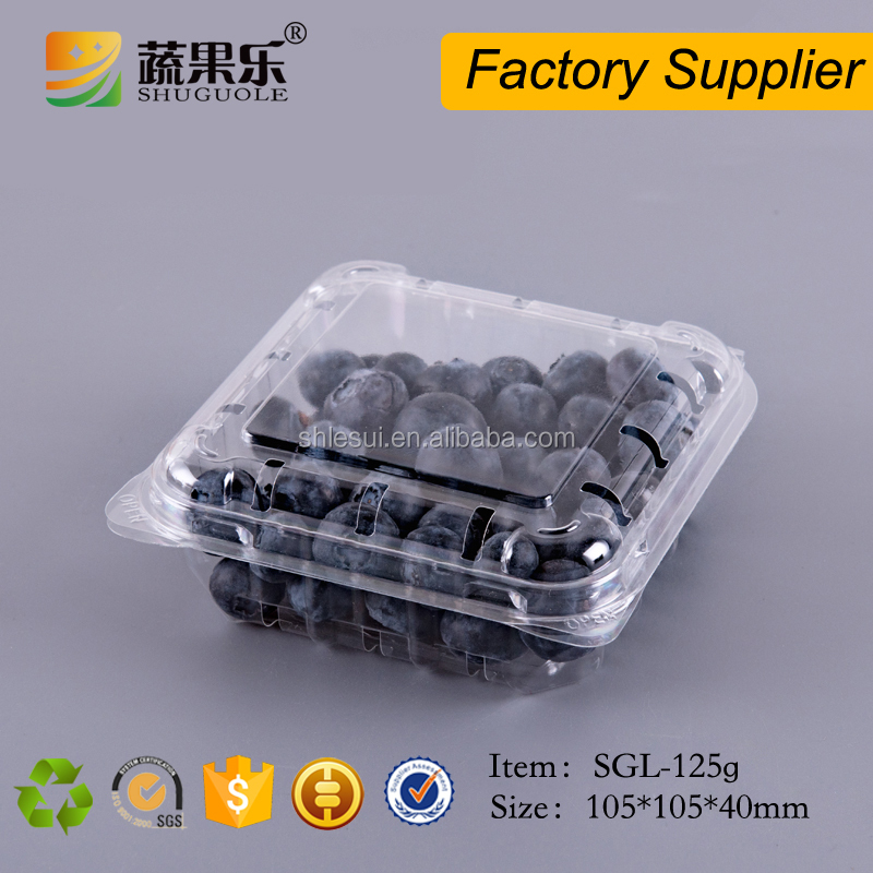 125g clear palstic blueberry container for packaging