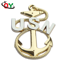 high quality zinc alloy pin badge lapel pin clothes decoration 3D USN anchor shape metal badge