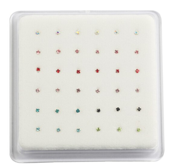 NSR1009 925 Streling Sliver Square Stone Mix Color Nose Rings