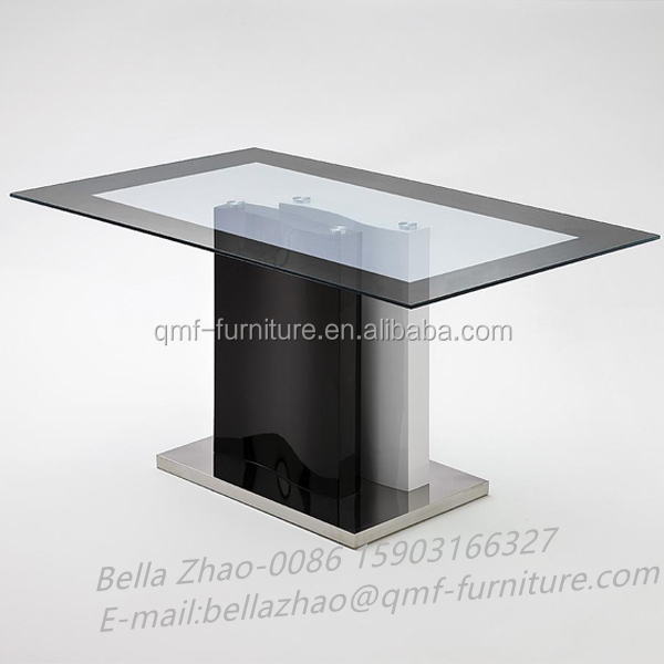 mdf support stainelss steel base glass top cheap price dining table set