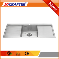 Stainless steel brushed chinese size stainless single bow kitchen sink