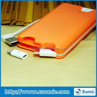 New Fashion Design 5000mAh power bank with cables inside for iphone 4 iphone 5s and micro USB compatible smartphone