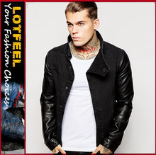 Black denim jacket leather sleeves for mans motor denim jacket biker denim jacket men(LOTJ181)