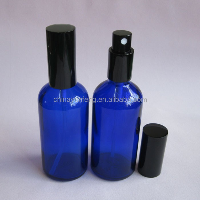 100 ml boston bulat kaca biru botol semprot