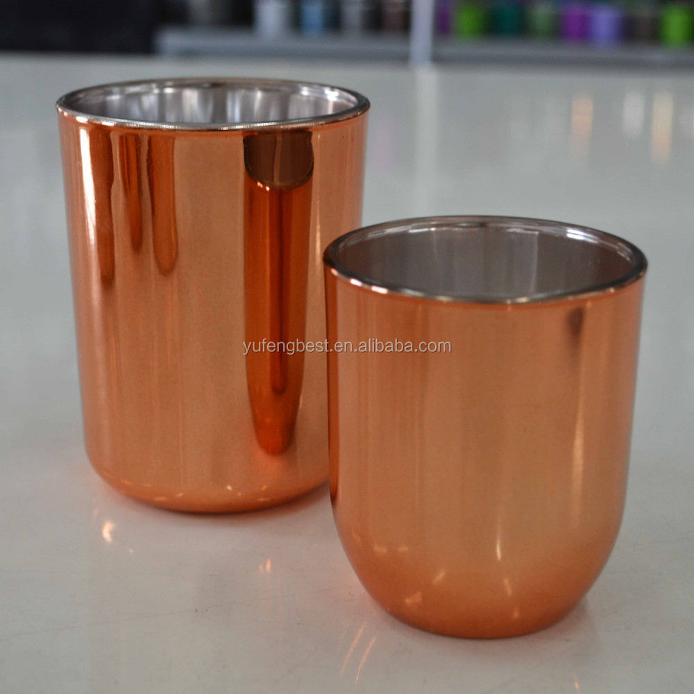 Outer plated rose gold glass candle holder