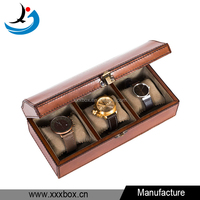 retro style deluxe original leather watch box 3 slot