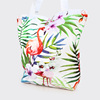 Stylish floral printing polyester foldable large tote grocery shopping bag with zipper lock