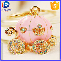 New Products Fairy Tale Pumpkin Carriage Pink Rhinestone Keychain