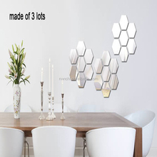 Green crystal stereo mirror wall stickers honeycomb hexagon Decoration DIY For Living Room Porch