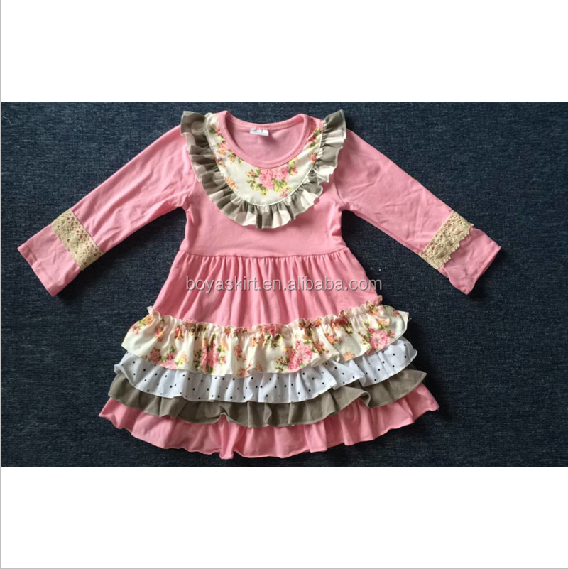 Remake Long Sleeve Knit Cotton Flower Girl Dress Patterns Baby Girl Party Dress
