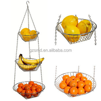 3 Tiers Chrome Wire Food Storage Hanging Basket