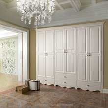 Latest customized wardrobe solid wood furniture bedroom furniture three doors wardrobe solid wood wardrobe