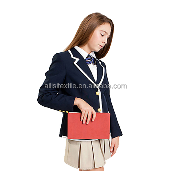 Custom 100%Polyester school uniforms navy blazers