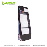 cardboard floor standing cosmetics display unit with hooks