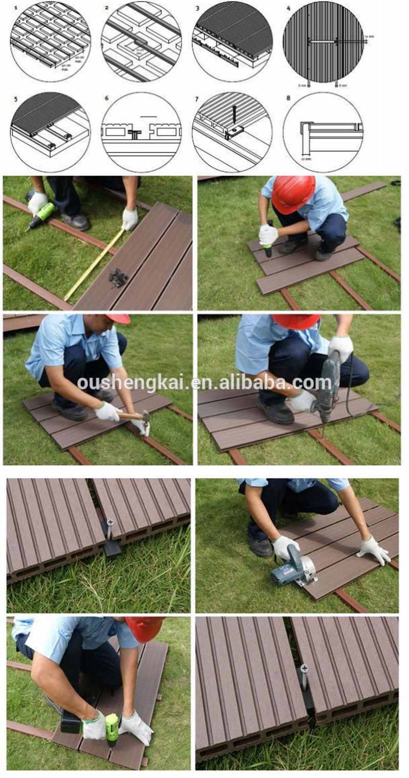 osk high quality wood plastic composite outdoor wpc hollow flooring with great price