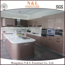 2016 Luxury laccquer painting golden cheap vietnam wood furniture kitchen cabinet
