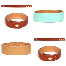 lastest hot camel jewelry monogrammed leather cuff band bracelet with snap closure