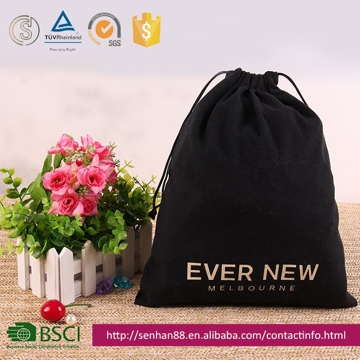High Level Customized Logo Drawstring Velvet Microfiber Jewelry Gift Packing Bag