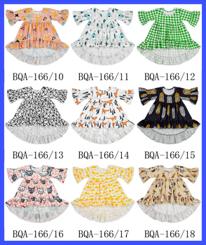 2017 Fashion Designer Baby Dress Middle Sleeve Ruffle Dresses Multicolored Baby Dress Frock