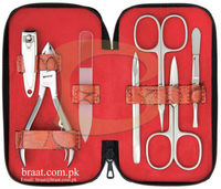 Blue color travel manicure set for grill/Red color metal frame manicure sets/white color manicure set for girl and boy