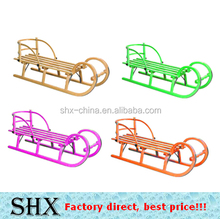 Wooden snow sled sleigh for kids with backrest