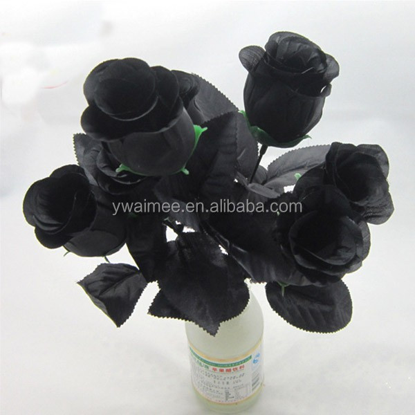 Yiwu Aimee supplies 7heads black rose bushes for sale, artificial fresh black rose flower(AM-FB02)