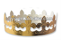 Children party golden paper hat/crown